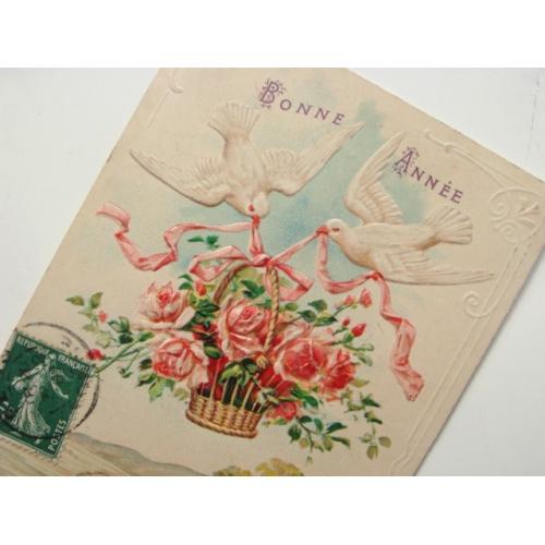 ポストカード 薔薇の花籠を運ぶ白鳩