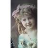 アンティークポストカード 桃色のリボンの少女