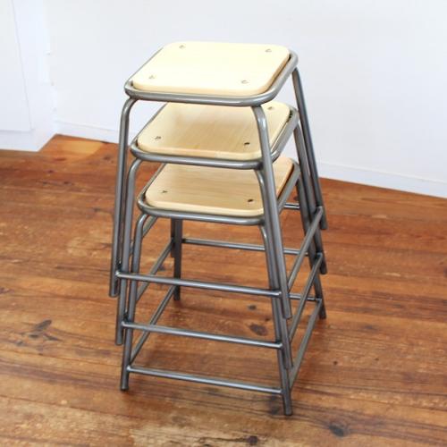 スタッキング スツール lancaster 座面高さ48cm Sサイズ 椅子 木製 アイアン ヴィンテージ アンティーク カフェ レストラン 飲食店・店舗・業務用