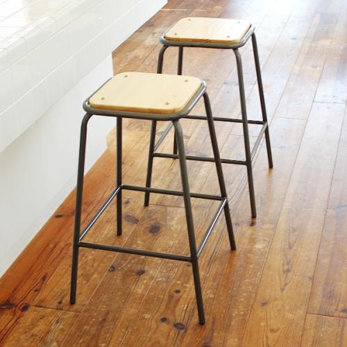 スタッキング バーチェア lancaster 座面高さ66cm Mサイズ カウンターチェア 椅子 木製 アイアン ヴィンテージ アンティーク カフェ レストラン 飲食店・店舗・業務用
