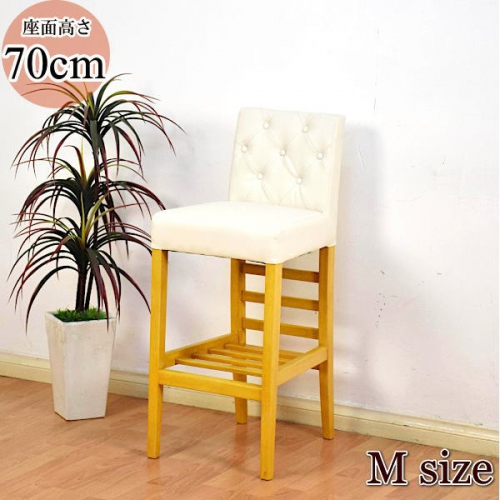 カウンターチェア UME 背もたれ付き 座面高さ70cm 椅子 レザー 木製 ホワイト 収納棚付き 和風 業務用