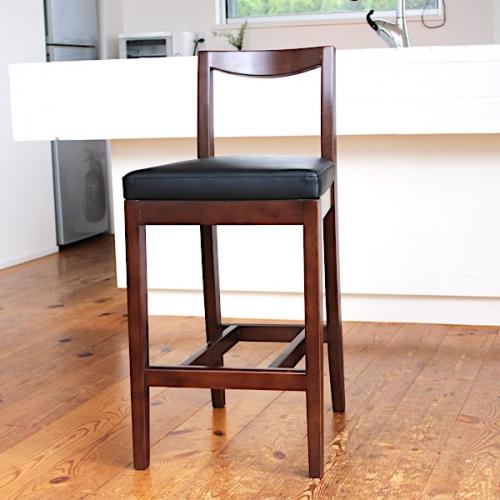 カウンターチェア SAKURA 背もたれ付き 座面高さ60cm 椅子 レザー 木製 ブラック 業務用
