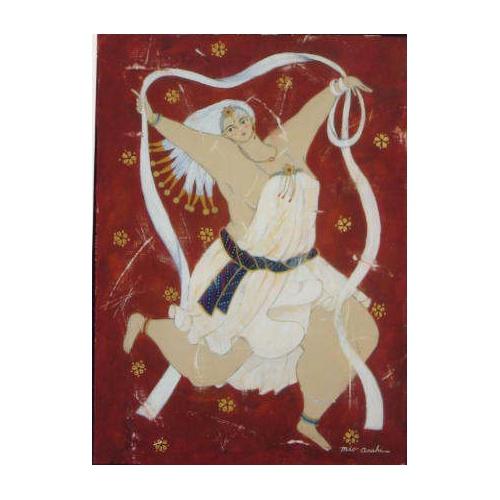 天女(てんにょ)か、踊り子(おどりこ)でしょうか?!!!朝日 みお(あさひ みお)のアクリル画作品 題名:踊り子(おどりこ) 専用額付き(簡易化粧箱入り)