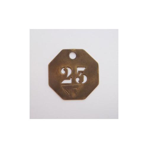 真鍮 ナンバープレート 八角 23