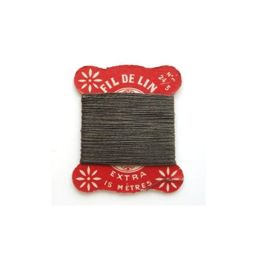 リネン糸巻き/赤 カーキ糸