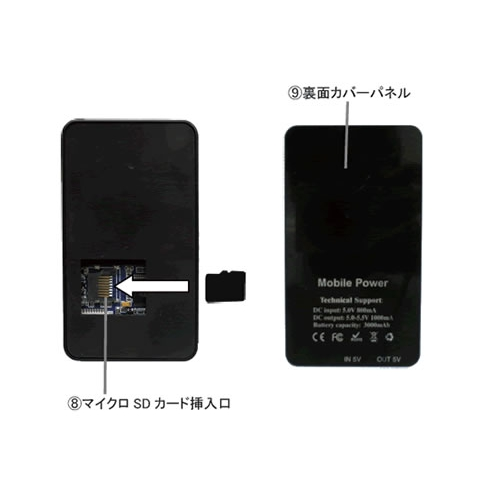 モバイルバッテリー型ビデオカメラ 大容量バッテリー内蔵 動体検知機能搭載  超小型カメラ カモフラージュカメラ スパイカメラ TEM-860 画像