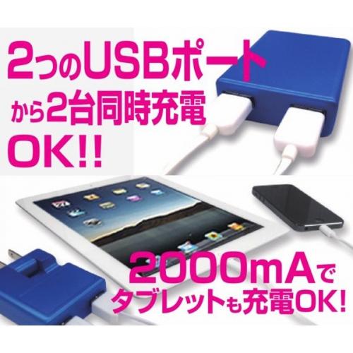 送料無料★USB対応2台同時AC充電器2000mAの高出力・新品 akj-2asdbk 画像