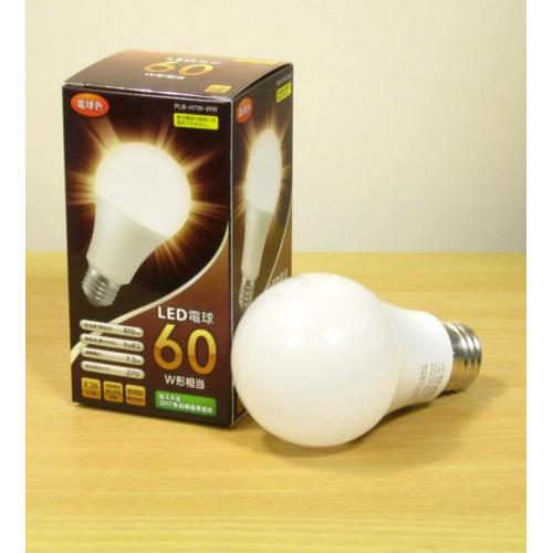 LED電球60W形相当E26口金・電球色 PLB-H7W-WW 画像