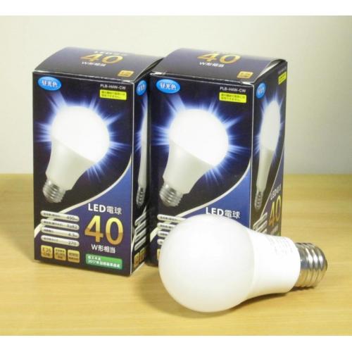 LED電球40W形相当★昼光色・E26口金タイプ2個/セット PLB-H4W-CW
