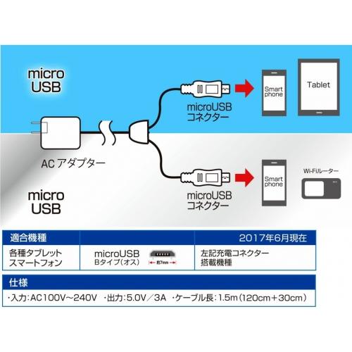 高出力3A!スマホ&タブレット対応★2台同時充電器 AKJ-TW3A BK 画像