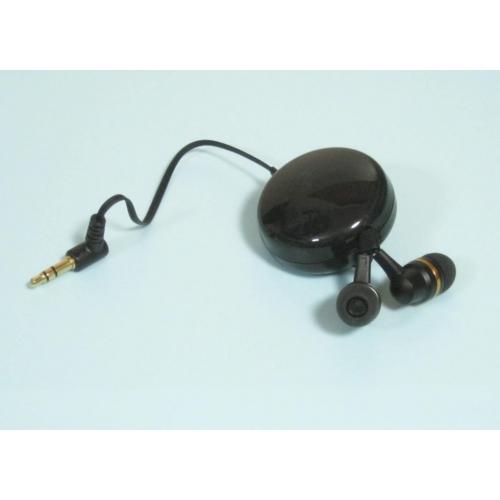 高音質★アルミハウジング片側コード巻き取り式カナルタイプステレオイヤホン EH-SC3GD