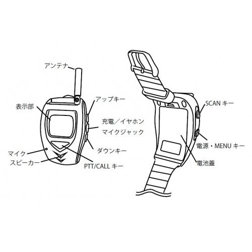 ★腕時計型・特定小電力トランシーバー・イヤホンマイク装備・2台/セット FT-20W 画像