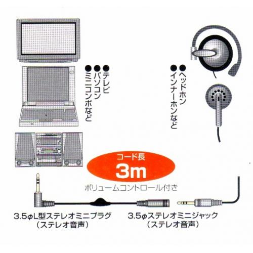 ★ヘッドホン延長コード3m便利なVRコントロール付新品 mhe-vc3 画像