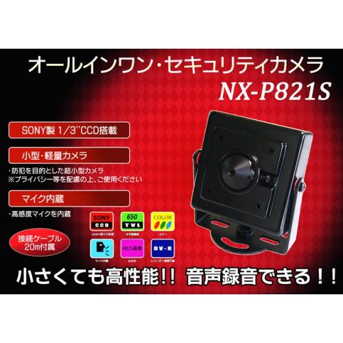 """超小型★オールインワン・セキュリティカメラ・SONY製1/3""""CCD搭載 NX-P821S"""