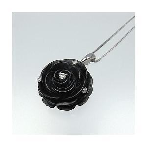 オニキスの黒バラ*ブラックアゲート*ペンダントネック