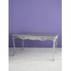■150cmダイニングテーブル■ シルバーカラーアンティーク調 繊細な猫脚とこだわりの彫刻