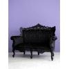 彫刻が素晴らしいアンティーク調 ブラックフレーム2Pソファ クラシックデモダン
