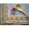 スウェーデンの手刺繍クロス★ドイリー ベージュにオレンジのお花