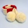 犬用手編みマフラー(ホワイトボンボン)-Mサイズ 【Scubed】