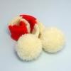 犬用手編みマフラー(ホワイトボンボン)-SSサイズ 【Scubed】