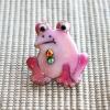 雨の日を楽しく!七宝焼ピンブローチ(ピンバッジ,ピンズ) カエル(ピンク)