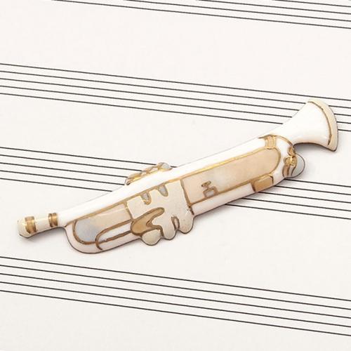 七宝焼 楽器 ブローチ トランペット(白)