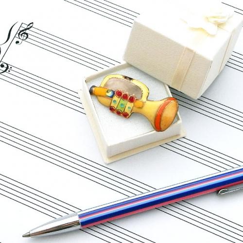 七宝焼 楽器 ピンブローチ トランペット(黄)