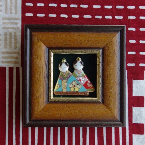 七宝焼[飾り額] ミニ雛人形