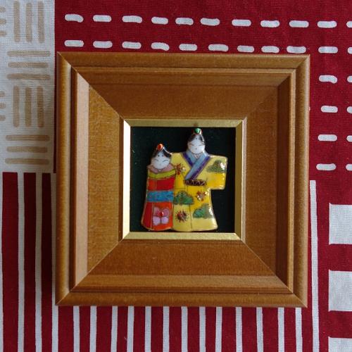 七宝焼[飾り額] ミニ立雛人形